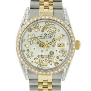 Rolex Datejust Two-Tone 36mm Floral Diamond Watch